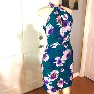 Charles Henry Floral Halter Cocktail dress